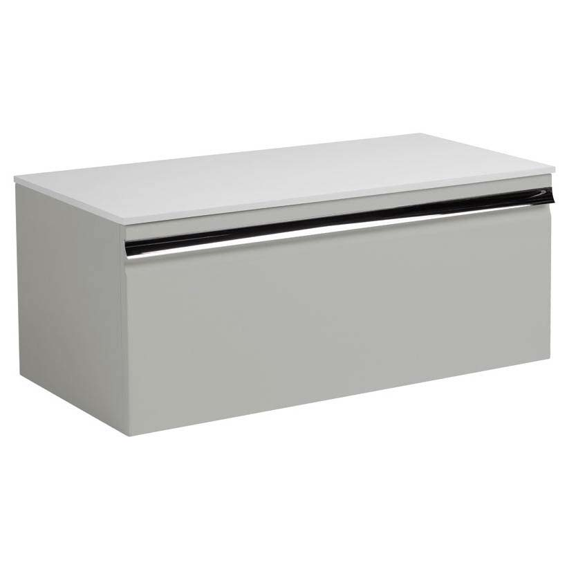 Roper Rhodes Pursuit 900mm Wall Mounted Unit with Solid Surface Worktop - Gloss Light Grey Large Ima