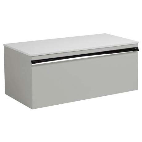 Roper Rhodes Pursuit 900mm Wall Mounted Unit with Solid Surface Worktop - Gloss Light Grey
