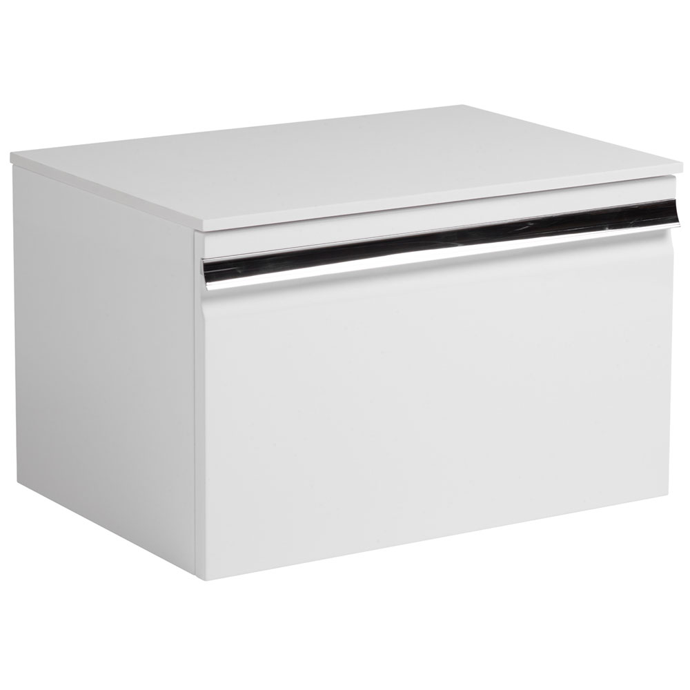 Roper Rhodes Pursuit 600mm Wall Mounted Unit with Solid Surface Worktop - Gloss White Large Image