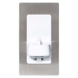 Proofvision Oral-B In Wall Electric Toothbrush Charger with Shaver Socket - Brushed Steel