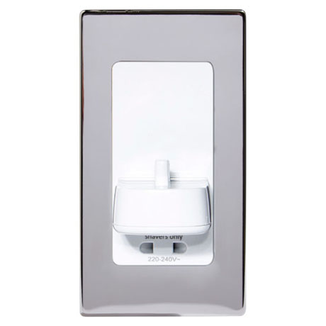 Proofvision Oral-B In Wall Electric Toothbrush Charger with Shaver Socket - Polished Steel