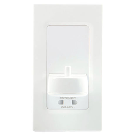 Proofvision Oral-B In Wall Electric Toothbrush Charger with Shaver Socket - White Plastic