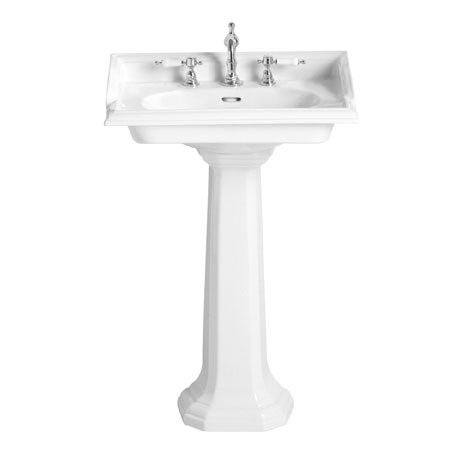 Heritage - Dorchester Square Basin & Pedestal - 2 or 3 Tap Hole Options