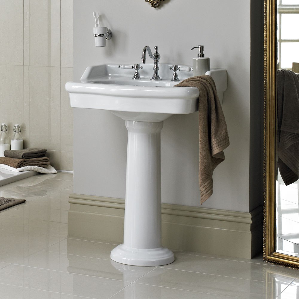 Heritage - New Victoria 3TH Standard Basin & Pedestal profile large image view 4