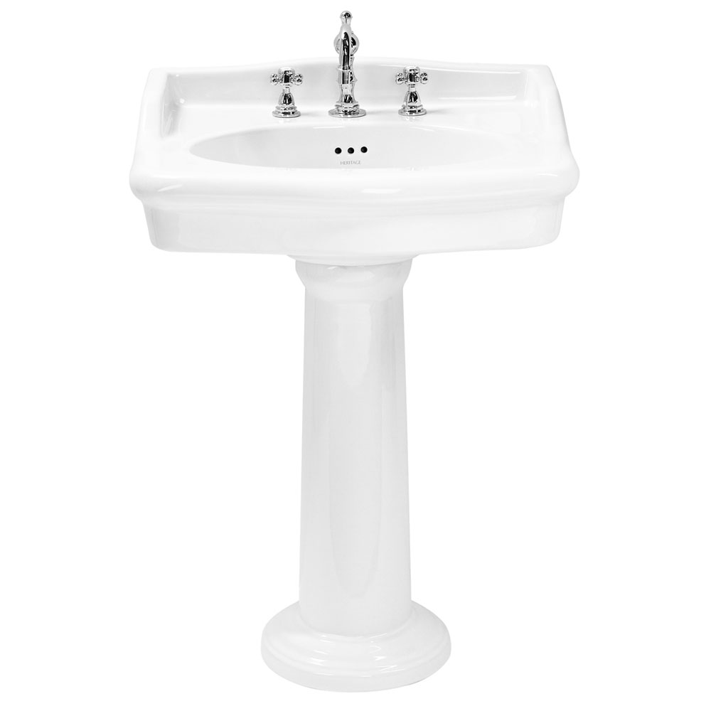 Heritage - New Victoria 3TH Standard Basin & Pedestal profile large image view 1