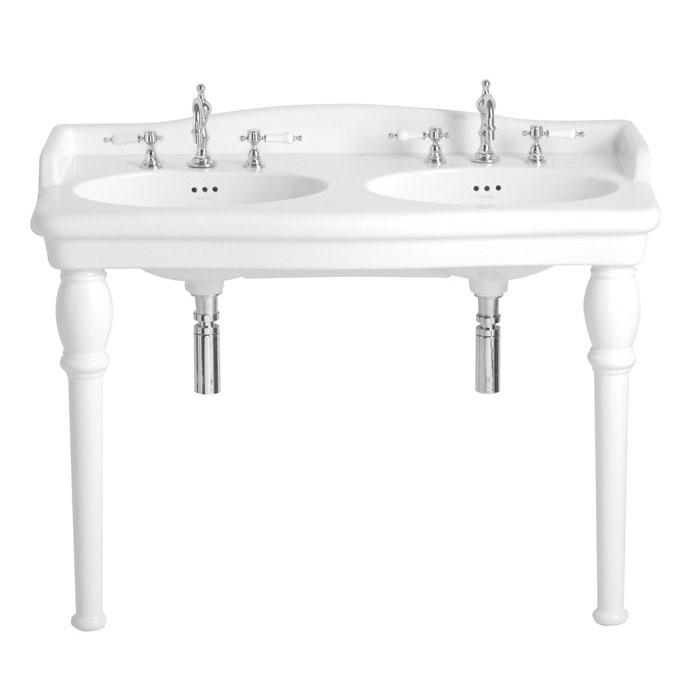 Heritage - New Victoria 3TH Double Console Basin & Console Legs Large Image