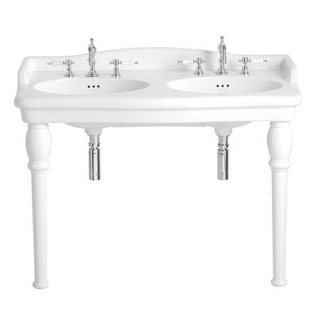 Heritage - New Victoria 3TH Double Console Basin & Console Legs