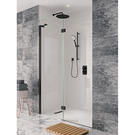 Crosswater Design+ Matt Black Walk In Easy Access Shower Enclosure