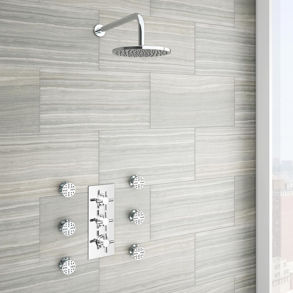 Pablo Concealed Thermostatic Valve with Fixed Shower Head & 6 Body Jets Large Image