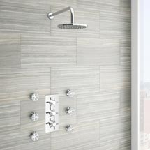 Pablo Concealed Thermostatic Valve with Fixed Shower Head & 6 Body Jets Medium Image