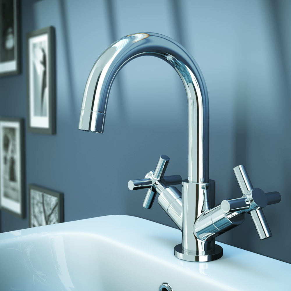 Pablo Modern Basin Mixer with Click Clack Waste - Chrome profile large image view 3