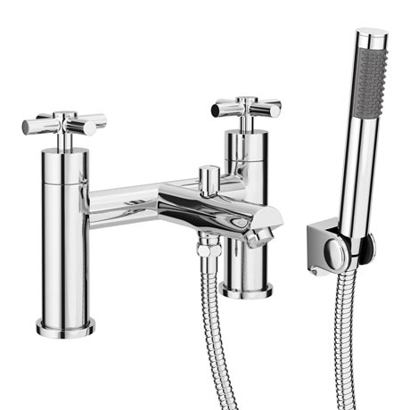 Pablo Modern Bath Shower Mixer with Shower Kit - Chrome