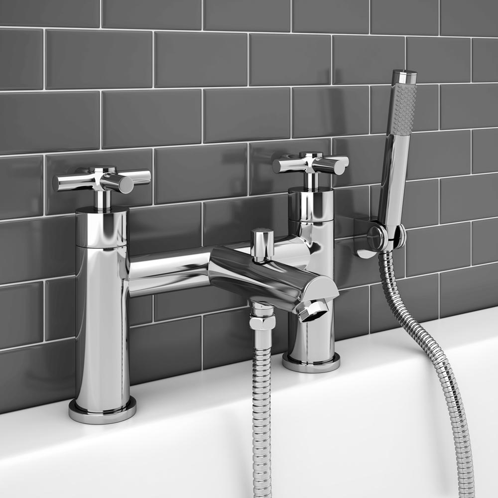 Pablo Modern Bath Shower Mixer with Shower Kit - Chrome profile large image view 2