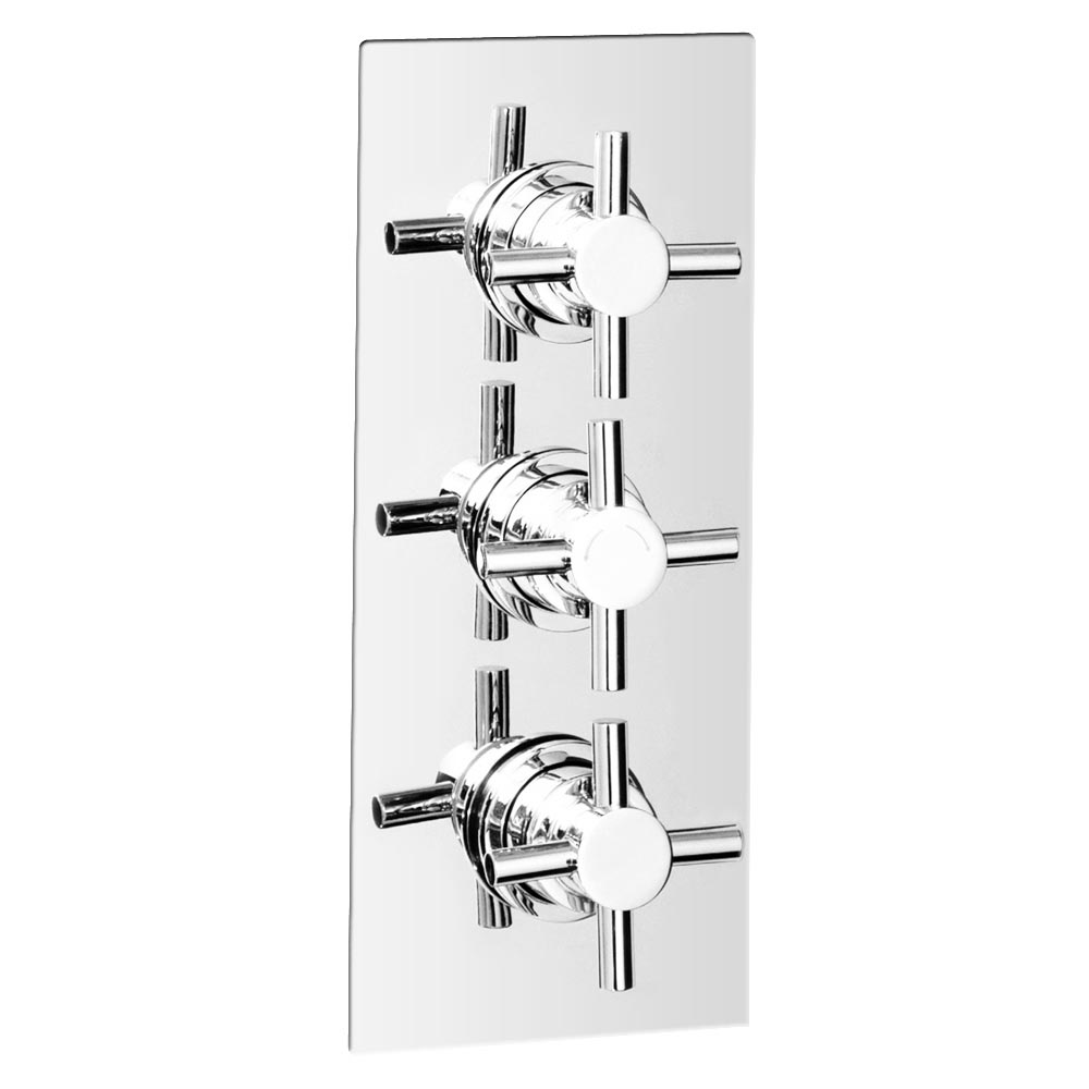Pablo Triple Crosshead Concealed Thermostatic Shower Valve - Chrome Large Image