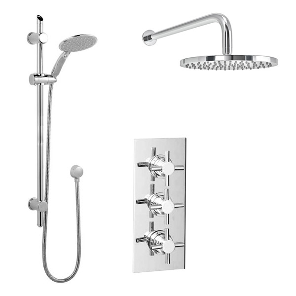 Pablo Triple Thermostatic Valve with Round Shower Head and Slider Rail Kit profile large image view 1