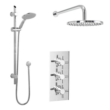 Pablo Triple Thermostatic Valve with Round Shower Head and Slider Rail Kit