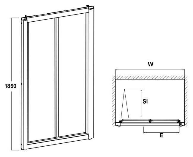 Line Drawing Door : Pacific bi fold shower door at victorian plumbing uk