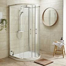 Pacific D-Shape Quadrant Shower Enclosure Inc. Tray, Waste & Easy Pumb Leg Set Medium Image