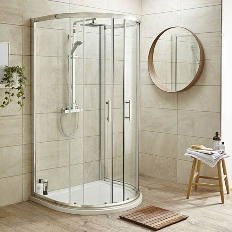 Pacific D-Shape Quadrant Shower Enclosure Inc. Tray, Waste & Easy Pumb Leg Set