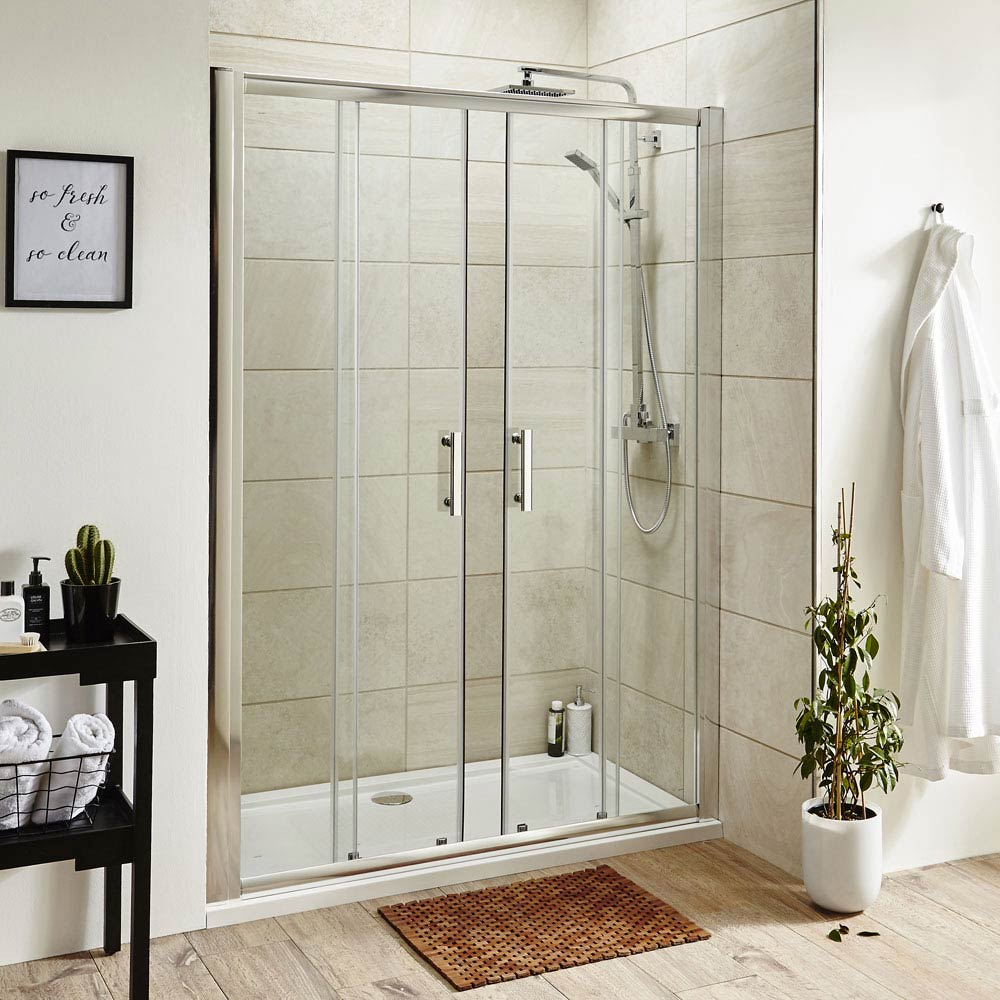 Pacific Double Sliding Shower Door Inc. Shower Tray + Waste Large Image
