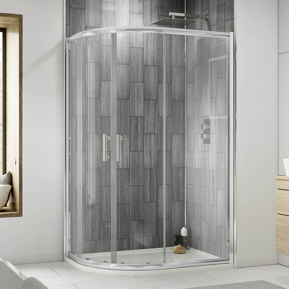 Pacific Offset Quadrant Shower Enclosure With Shower Tray Waste