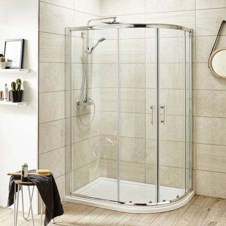 Pacific Offset Quadrant Shower Enclosure Inc. Tray + Waste (Right Hand)