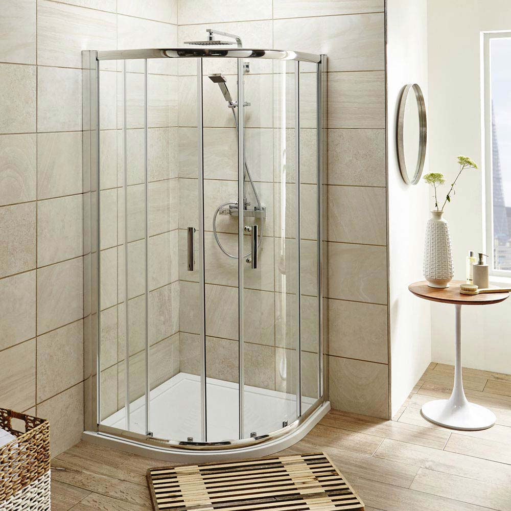 pacific quadrant shower enclosure with shower tray waste at victorian plumbing uk. Black Bedroom Furniture Sets. Home Design Ideas