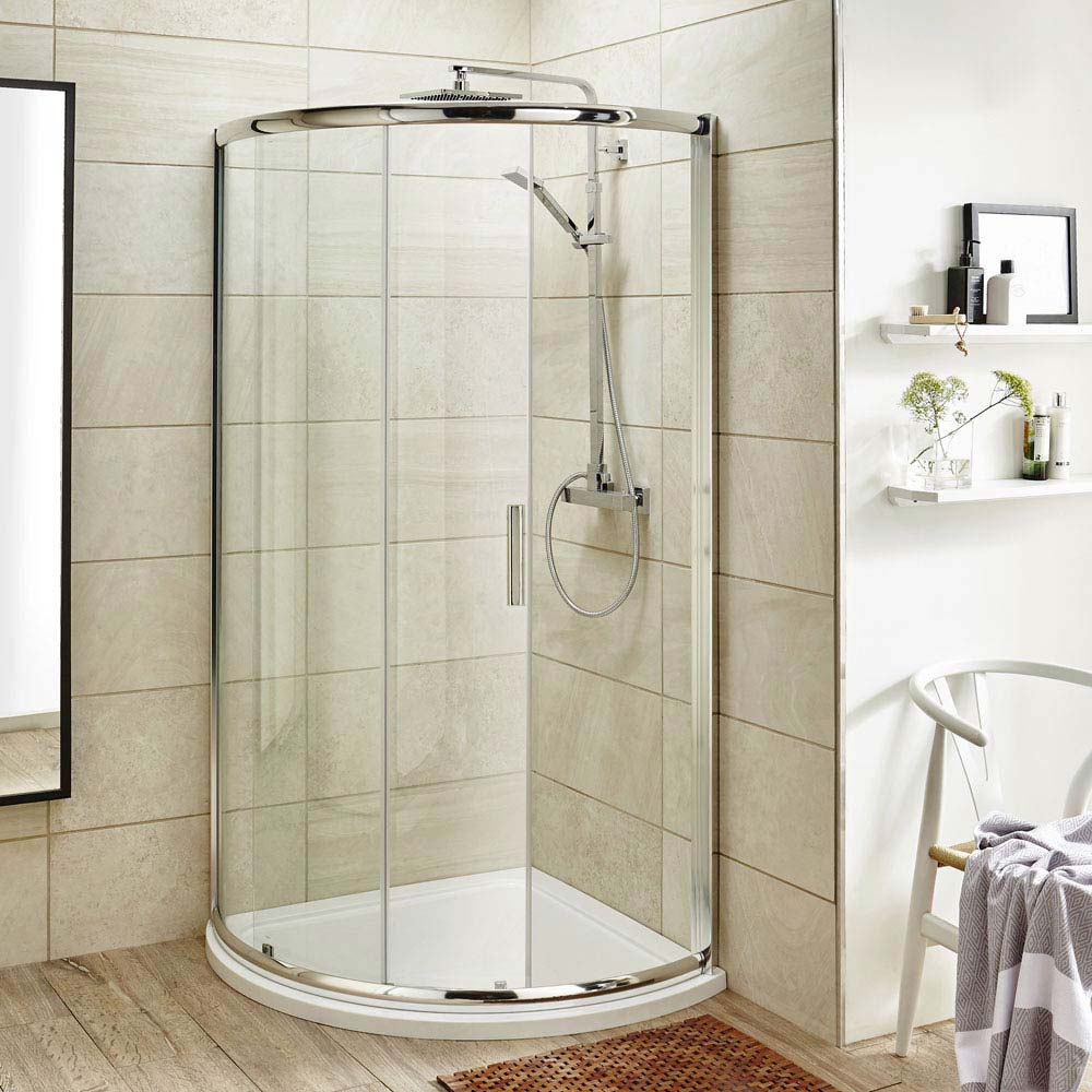 860 x 860mm Pacific Single Entry Quadrant Enclosure Inc. Shower Tray + Waste Large Image