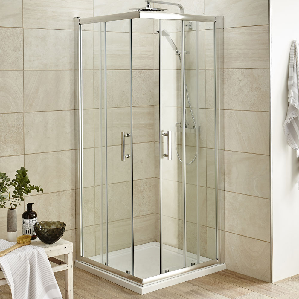 Pacific Corner Entry Square Shower Enclosure With Shower Tray And Waste At Victorian Plumbing Uk
