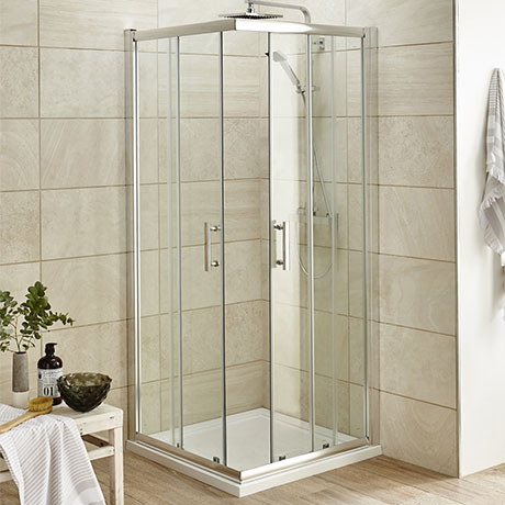 Pacific Corner Entry Square Shower Enclosure (Inc. Shower Tray + Waste)