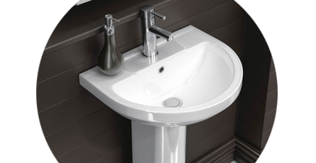 Pedestal Basin With Complementing Taps and Soap Dispenser