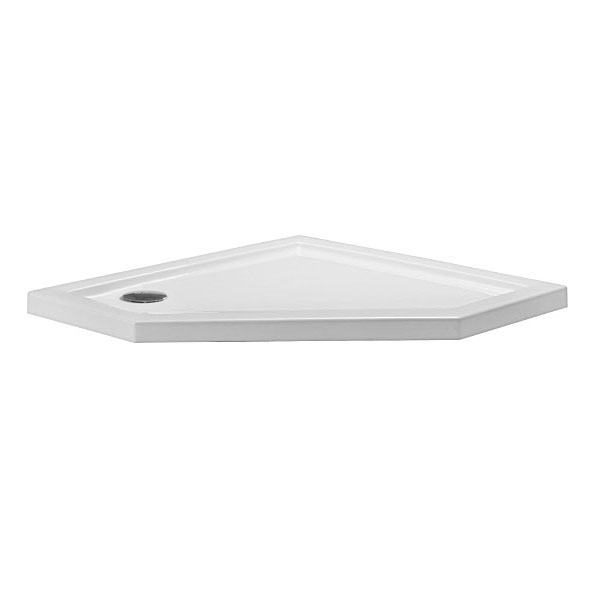 Simpsons - Pentagon Low Profile Acrylic Shower Tray with Waste - 900 x 900 x 35mm Large Image