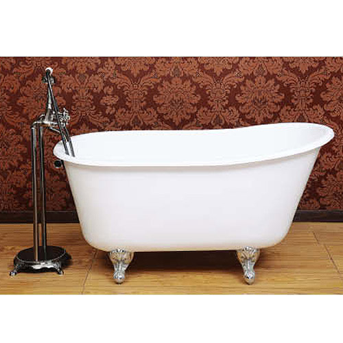 Petite 1350 x 700mm Slipper Roll Top Cast Iron Bath 0TH with Chrome Feet  Feature Large Image