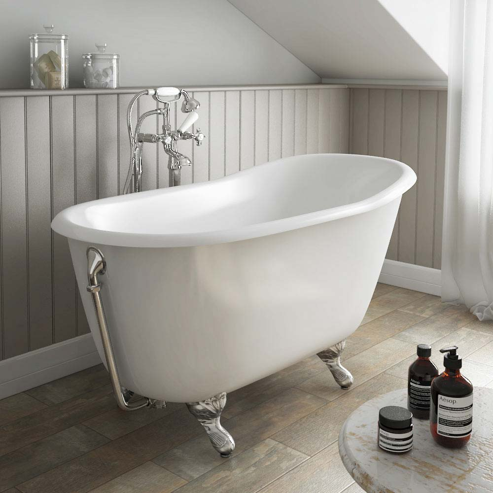Petite 1350 x 700mm Slipper Roll Top Cast Iron Bath 0TH with Chrome Feet profile large image view 1