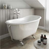 Petite 1350 x 700mm Slipper Roll Top Cast Iron Bath 0TH with Chrome Feet profile small image view 1
