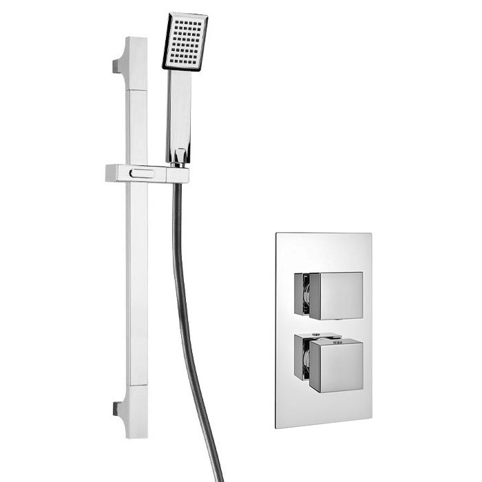 Plaza Square Twin Concealed Thermostatic Shower Valve + Slider Rail Kit Large Image