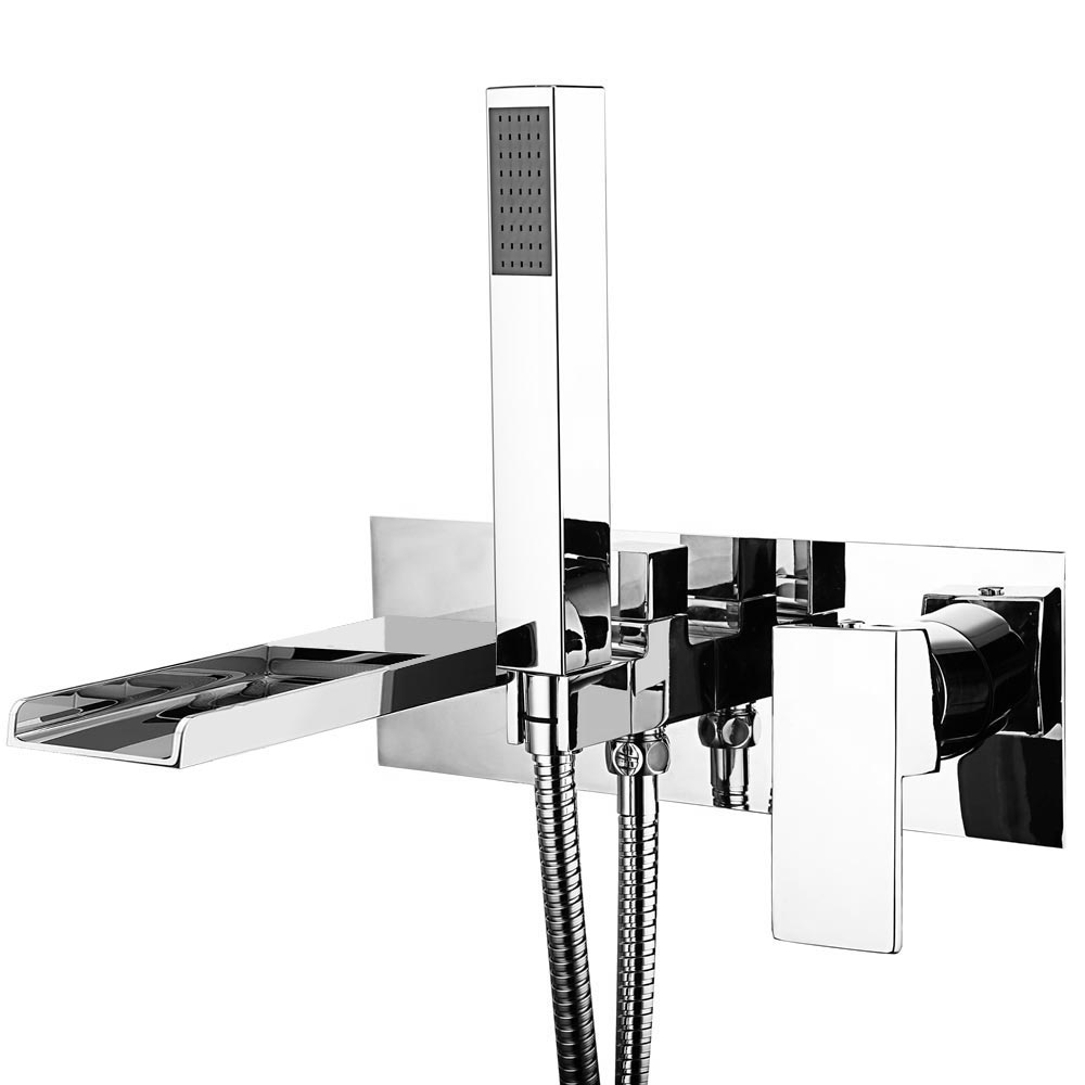 Plaza Wall Mounted Bath Shower Mixer Tap + Shower Kit Large Image