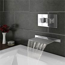 Plaza Wall Mounted Waterfall Bath Filler + Concealed Thermostatic Valve Medium Image