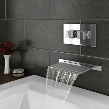 Monza Wall Mounted Waterfall Bath Filler + Concealed Thermostatic Valve