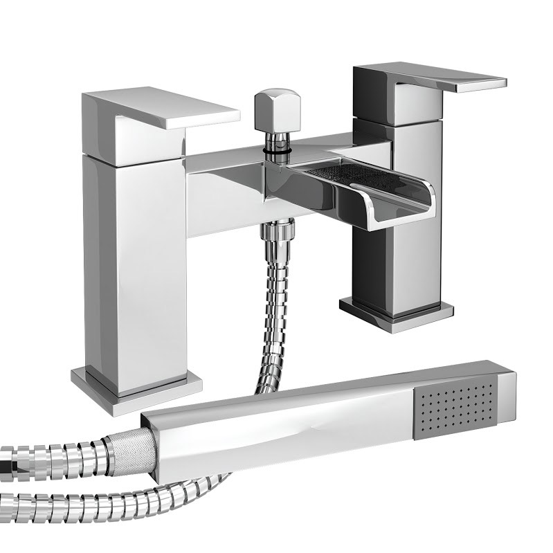 Plaza Waterfall Bath Shower Mixer Taps + Shower Kit - Chrome Large Image