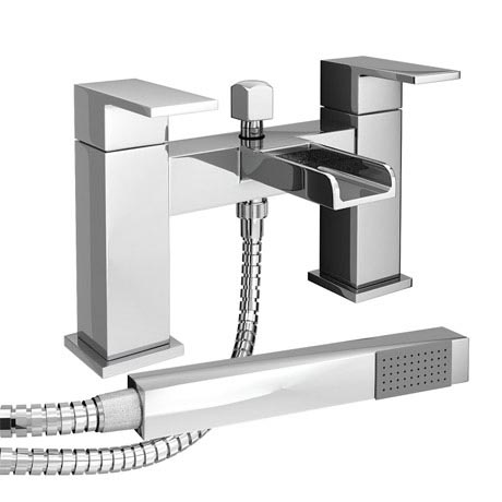 Plaza Waterfall Bath Shower Mixer Taps + Shower Kit - Chrome