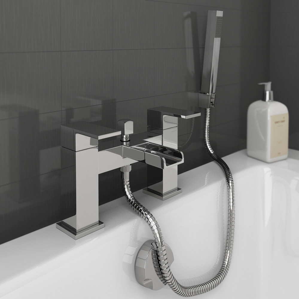 plaza waterfall bath shower mixer with shower kit chrome freestanding bath shower mixer inc shower kit