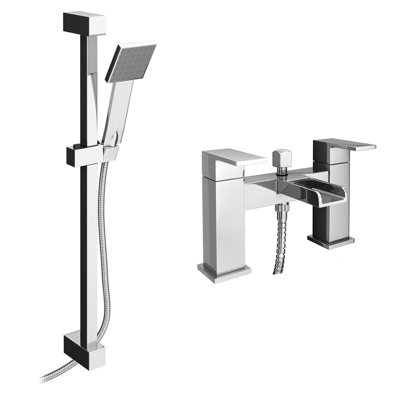Plaza Waterfall Bath Shower Mixer with Slider Rail Kit - Chrome Large Image