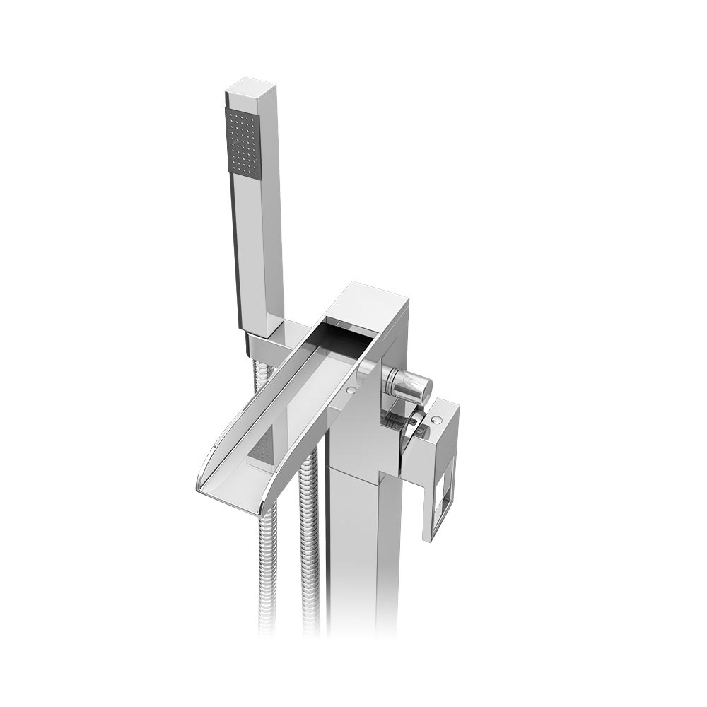 Plaza Waterfall Floor Mounted Freestanding Bath Shower Mixer - Chrome profile large image view 2
