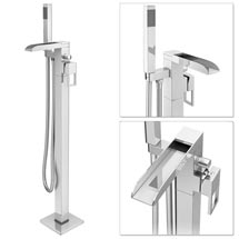 Plaza Waterfall Floor Mounted Freestanding Bath Shower Mixer - Chrome Medium Image