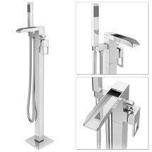 Plaza Waterfall Floor Mounted Freestanding Bath Shower Mixer - Chrome Medium Image