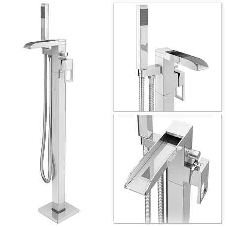 Plaza Waterfall Floor Mounted Freestanding Bath Shower Mixer - Chrome