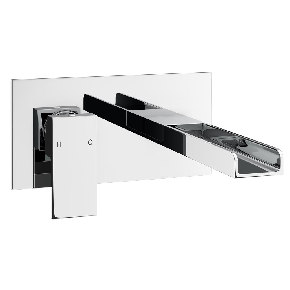 Plaza Waterfall Wall Mounted Basin Mixer - Chrome Large Image