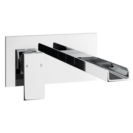 Plaza Waterfall Wall Mounted Basin Mixer - Chrome