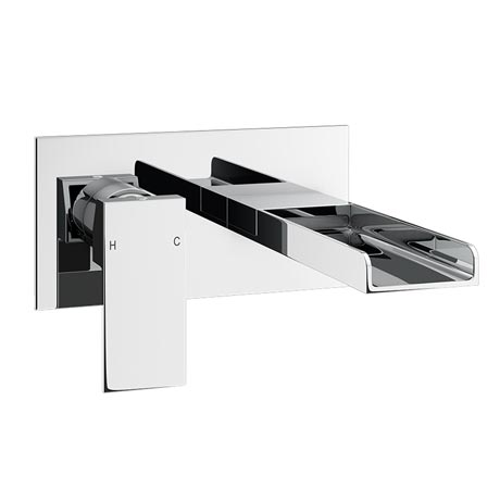 Plaza Waterfall Wall Mounted Bath Filler - Chrome